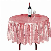 48-Inch Round Tablecloth Pink Gold Sequin