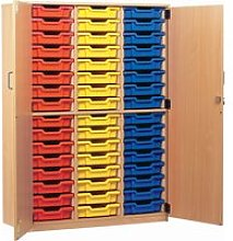 48 Tray Storage Cupboard With Full Doors, Blue,