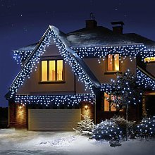 480 LED Snowing Icicle Christmas Lights - White.