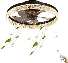 48W Flush Black Ceiling Fan with LED Lighting and