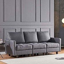 4HOMART 3-Seater Retro Corner Sofa Couch Grey
