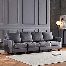 4HOMART 4-Seater Grey Fabir Retro Corner Sofa