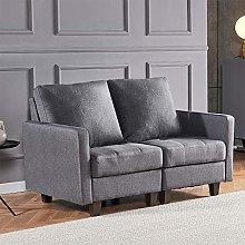 4HOMART Grey Fabir Loveseat Sofa Couch 2-Seater