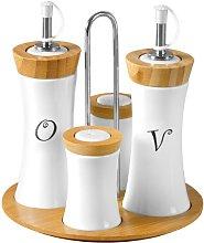 4pc Condiment Set Oil Vinegar Salt Pepper Bamboo