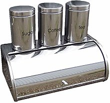 4pc Stainless Steel Large Bread Bin, Tea, Coffee &