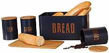 4pcs Bamboo & Tin Food Storage Set - Bread Bin