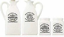 4pcs Ceramic Spice Jar with Wooden Cork Kitchen