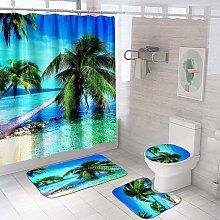 4PCS Dolphin Shower Curtain Set,Bathroom Shower