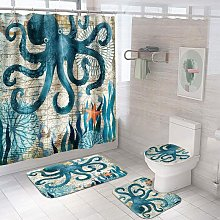 4PCS Dolphin Shower Curtain Set?Bathroom Shower