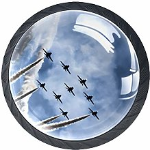 4pcs Door Knobs Aircraft Round Shape Drawer