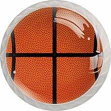 4pcs Door Knobs Basketball Orange Sport Round