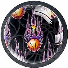 4pcs Door Knobs Basketball Round Shape Drawer