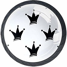 4pcs Door Knobs Black Crown Round Shape Drawer