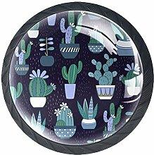 4pcs Door Knobs Cactus Round Shape Drawer Cupboard