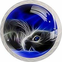 4pcs Door Knobs Cat Round Shape Drawer Cupboard