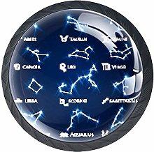 4pcs Door Knobs Constellation Round Shape Drawer