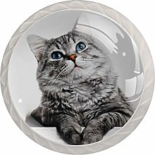 4pcs Door Knobs Cute Cat Gray Round Shape Drawer
