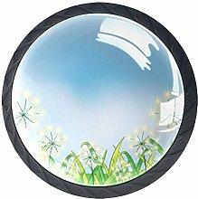 4pcs Door Knobs Dandelion Round Shape Drawer