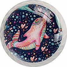 4pcs Door Knobs Dolphin Round Shape Drawer