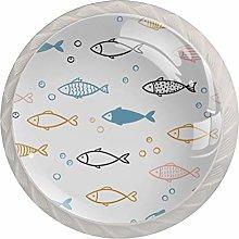 4pcs Door Knobs Fish White Round Shape Drawer