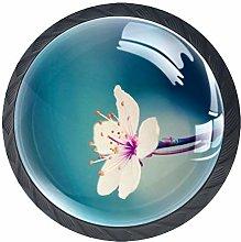 4pcs Door Knobs Flower Round Shape Drawer Cupboard