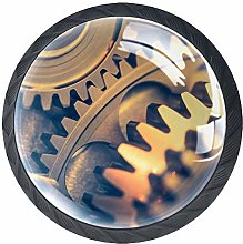 4pcs Door Knobs Gearwheel Round Shape Drawer