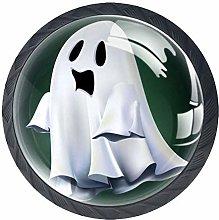 4pcs Door Knobs Ghost Round Shape Drawer Cupboard