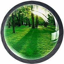 4pcs Door Knobs Grasses Round Shape Drawer