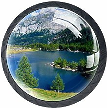 4pcs Door Knobs Lake Round Shape Drawer Cupboard