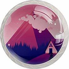 4pcs Door Knobs Mountain Round Shape Drawer