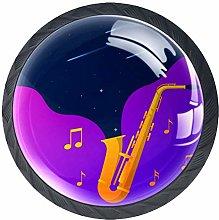 4pcs Door Knobs Saxophone Round Shape Drawer