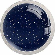 4pcs Door Knobs Stars Round Shape Drawer Cupboard
