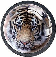 4pcs Door Knobs Tiger Round Shape Drawer Cupboard