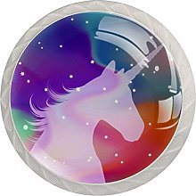 4pcs Door Knobs Unicorn Round Shape Drawer