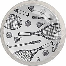 4pcs Door Knobs White Sport Round Shape Drawer
