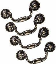 4Pcs Drop Ring Drawer Pulls Vintage Bronze Handles
