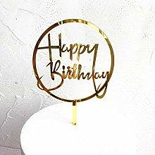 4PCS Flowers Happy Birthday Cake Topper Golden