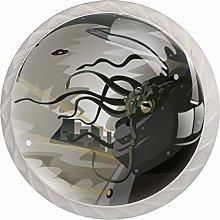 4pcs Glass Cupboard Wardrobe Cabinet Drawer Knob