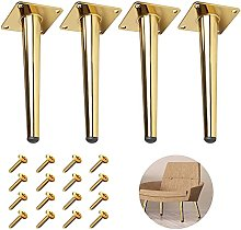 4Pcs Golden Furniture Cabinet Metal Legs Round