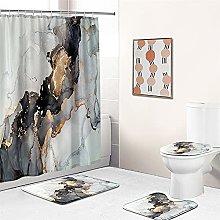 4PCS Green Shower Curtain with 12 Hooks, Tropical