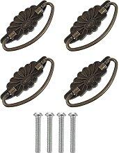 4pcs Iron Pull Knobs Flower Cabinet Hardware Knob