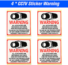 4pcs/lot 80*80MM Decal Sticker Warning Board 24HR
