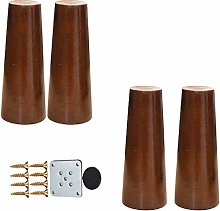 4pcs Natural Wooden Furniture Legs,Solid Conical