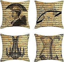 4Pcs Outdoor Waterproof Cushion Covers 45 x 45