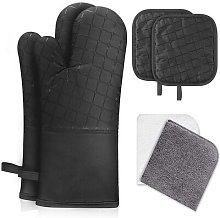 4PCS Oven Gloves and Potholders, Heat Resistant