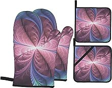 4pcs Oven Mitts and Pot Holders Set, Purple Floral