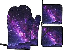 4pcs Oven Mitts and Pot Holders Set, Purple Galaxy