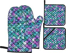 4pcs Oven Mitts and Pot Holders Set, Purple Green