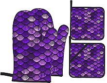 4pcs Oven Mitts and Pot Holders Set, Purple