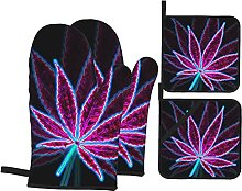 4pcs Oven Mitts and Pot Holders Set, Purple Weed